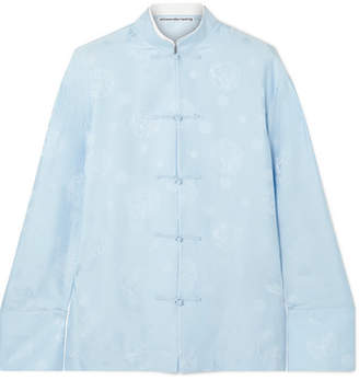 Alexander Wang Silk-jacquard Shirt - Light blue