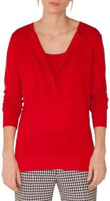 Akris Punto Long-Sleeve Split-Neck Wool Blouse