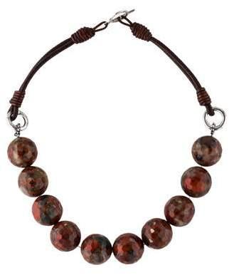 Brunello Cucinelli Jasper & Leather Bead Strand Necklace w/ Tags