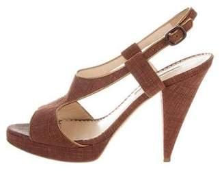 Oscar de la Renta Cork Cutout Sandals