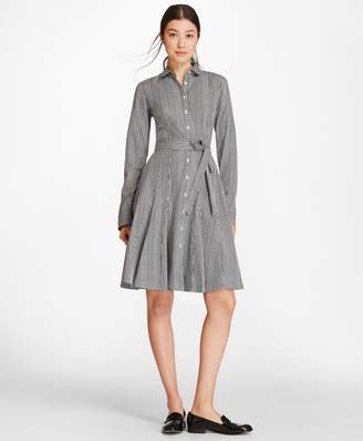 Brooks Brothers Checked Cotton Poplin Godet Shirt Dress