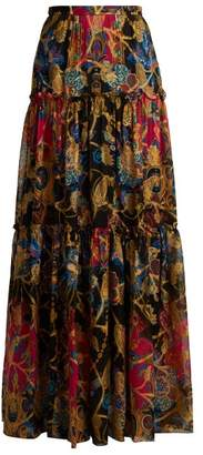 Etro Eastern Print Silk Blend Skirt - Womens - Black Multi