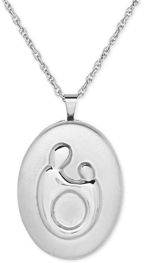 Macy's Mother-Themed Oval Locket Pendant Necklace in Sterling Silver