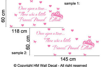 H&M Wall Decal Personalised Name and Once Upon A Time, There Was A Little Princess Named .... Wall Sticker