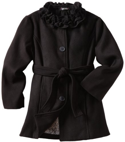 Amy Byer Girls 7-16 Solid Coat With Ruffle Collar