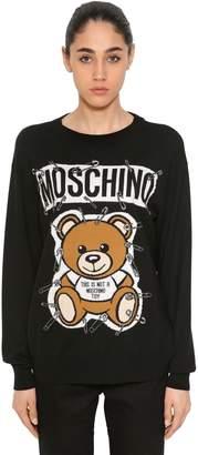 Moschino Safety Pin Bear Intarsia Cotton Sweater