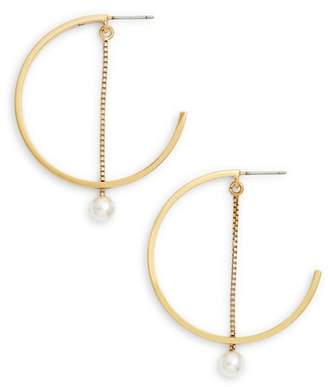 Jenny Bird Faux Akoya Pearl Hoop Earrings