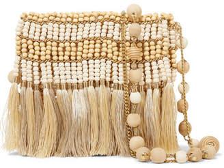 Rosantica Libby Tasseled Beaded Shoulder Bag - Beige