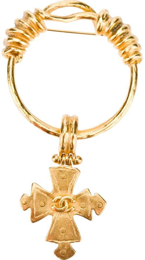 Chanel cross ring brooch