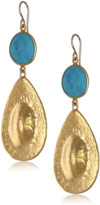 Devon Leigh and Yellow Gold-Plated Teardrop Earrings