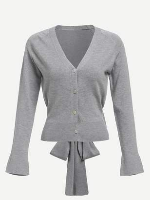 Shein Bow Tied Back Button Up Sweater