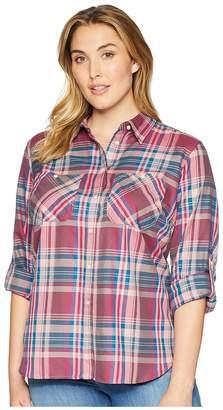 Lauren Ralph Lauren Plus Size Plaid Twill Button-Down Shirt Women's Long Sleeve Button Up