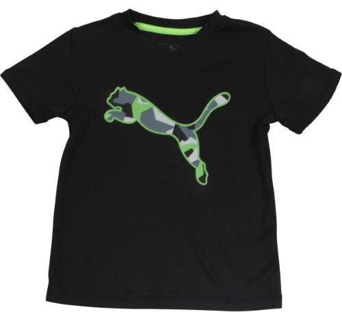 Puma Little Boy's V-Neck Geometric Cat Logo Black Short Sleeve T-Shirt Sz: 5
