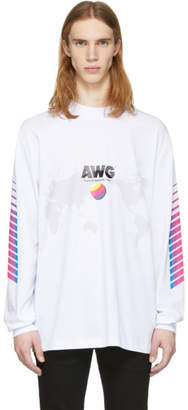 Alexander Wang White Long Sleeve AWG Corporate T-Shirt