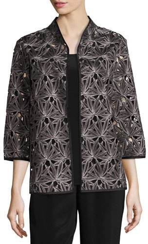 Caroline Rose Caroline Rose Laser Leaf Embroidered Jacket, Plus Size