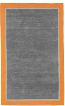 Pottery Barn Teen Capel Border Rug, 3x5, Navy/Light Gray/Orange