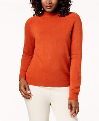 Karen Scott Zip-Back Mock-Neck Sweater
