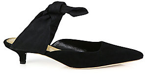 The Row Women's Coco Suede& Grosgrain Ankle-Tie Mules