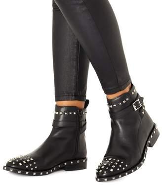 Faith Black Leather 'Bez' Ankle Boots