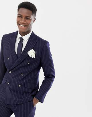Moss Bros skinny suit jacket navy crepe double breasted