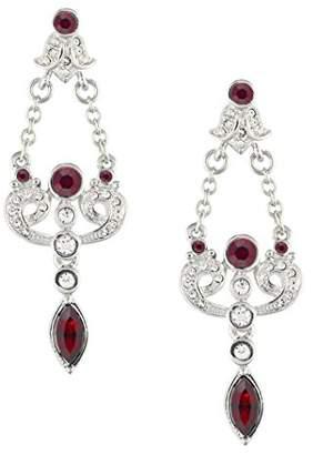 Swarovski Cristalina Rhodium Plated Edwardian Style Siam Crystal Earrings