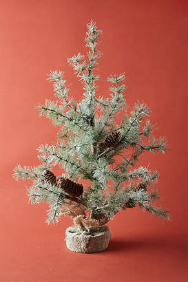 Anthropologie Glittered Pine Cone Faux Tree