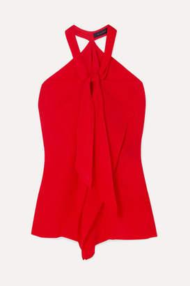 Roland Mouret Pontal Draped Silk-satin Jacquard Halterneck Top - Red