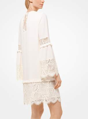 MICHAEL Michael Kors Lace-Trimmed Bell-Sleeve Dress