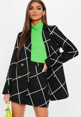 Missguided Black Grid Print Mini Skirt