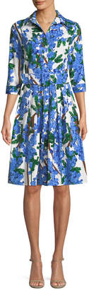 Samantha Sung Audrey 3/4-Sleeve Mimosa Floral-Print Dress