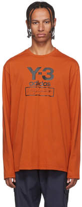 Y-3 Y 3 Orange Stacked Logo Long Sleeve T-Shirt