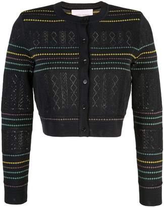 Carolina Herrera cropped pointelle-knit cardigan