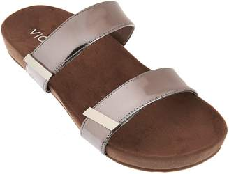Vionic Orthotic Leather and Haircalf Slide Sandals - Jura