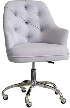 Pottery Barn Teen Tufted Desk Chair, Light Gray