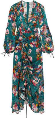 Opal Ruched Floral-print Devoré-chiffon Midi Dress - Teal