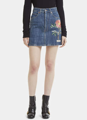 Gucci High Waist Flower Embroidered Mini Skirt in Blue