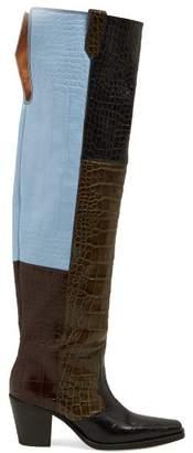 Ganni Crocodile Effect Leather Knee Western Boots - Womens - Black Multi