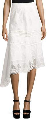 Neiman Marcus N/Nicholas Pollen Lace Asymmetric Midi Skirt, Ivory