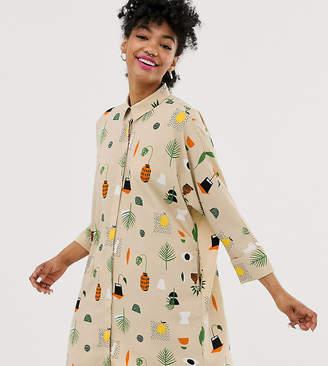 Monki abstract print mini shirt dress in beige