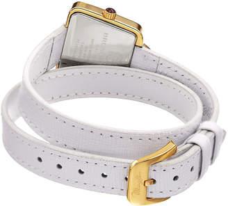 Bruno Magli 28mm Emma Trapezoid Double-Wrap Watch, White/Gold