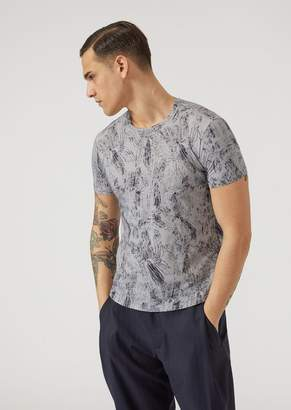 Emporio Armani Cotton Jersey Crew-Neck T-Shirt With Leaf Pattern