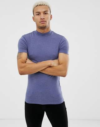 1a5190a1 Asos Design DESIGN muscle fit turtle neck t-shirt with stretch in blue