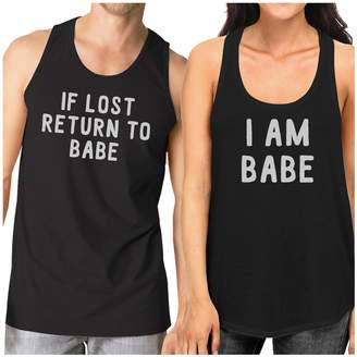 365 Printing If Lost Return To Babe Cute Matching Workout Tank Tops Black Cotton