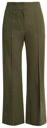 Joseph - Ridge Kick Flare Cotton Blend Trousers - Womens - Dark Green