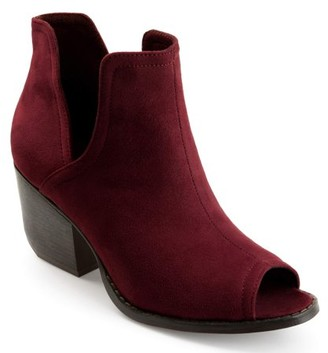 PeepToe Brinley Co. Collection Brinley Co. Womens Faux Suede Side-slit Peep-toe Ankle Booties