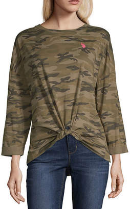 U.S. Polo Assn. USPA Long Sleeve Round Neck Camouflage T-Shirt-Womens Juniors