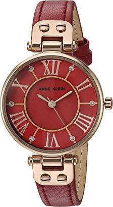 Anne Klein Women's AK/2718RGBE Glitter Accented Rose Gold-Tone and Berry Red Leather Strap Watch