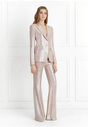 Rachel Zoe Lauren Metallic Suiting Wide-Leg Pants