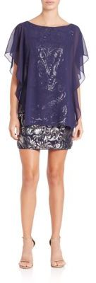 Laundry by Shelli Segal Sequined Chiffon-Overlay Dress $295 thestylecure.com