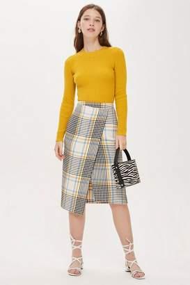 Topshop Womens Check Wrap Midi Skirt